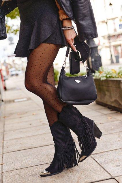 Členkové topánky na podpätku farba čierna kód obuvi 15809 BLK SUEDE