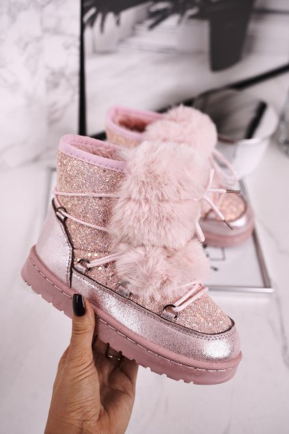 Detské snehule farba ružová kód obuvi 20216 PINK