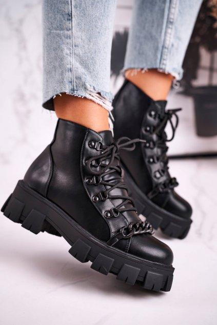 Členkové topánky na podpätku farba čierna kód obuvi NC1106 BLK