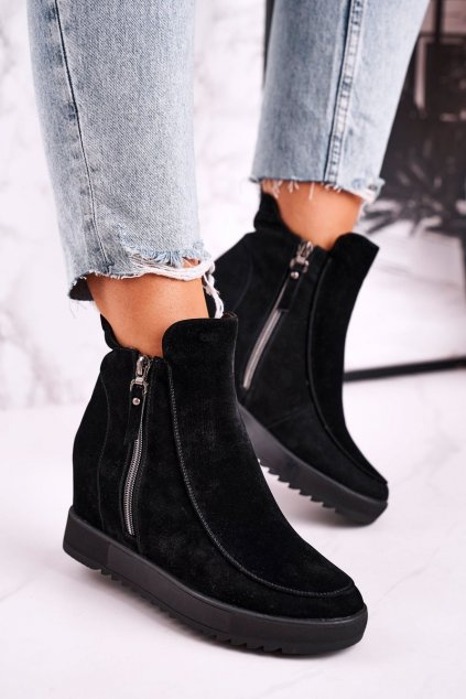Členkové topánky na podpätku farba čierna kód obuvi H6796-1 BLK