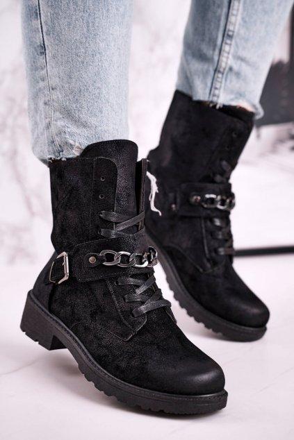 Členkové topánky na podpätku farba čierna kód obuvi KM70 BLK