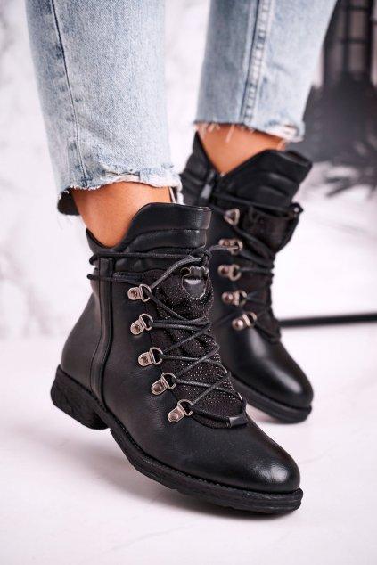 Členkové topánky na podpätku farba čierna kód obuvi LBS2372 BLK