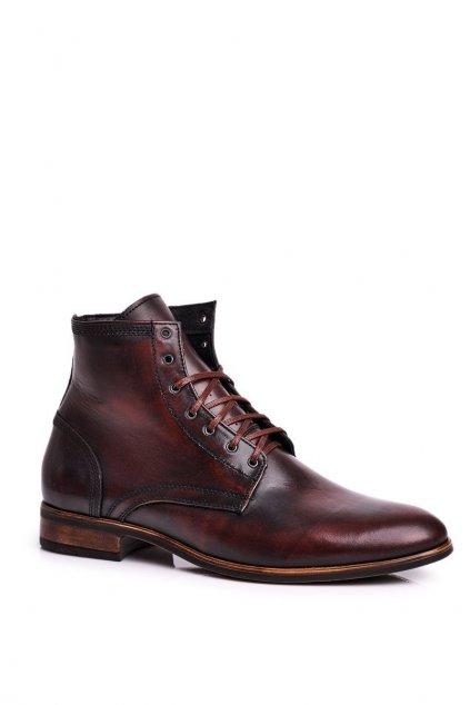 Pánske topánky na zimu farba hnedá kód obuvi 287 BROWN KABIR