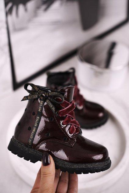 Detské členkové topánky farba červená kód obuvi 20DZ60-3246 WINE