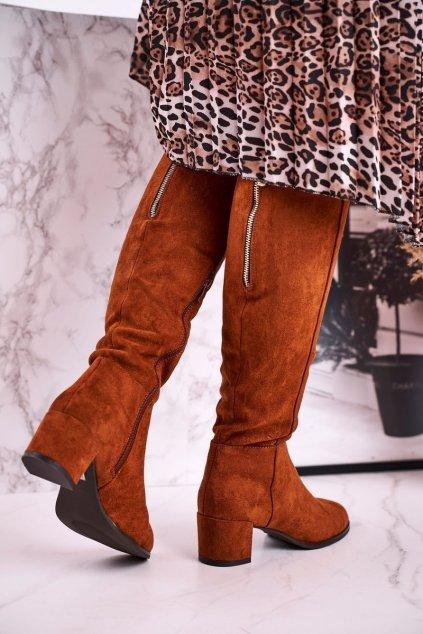 Dámske čižmy farba hnedá kód obuvi KZ273 CAMEL MIC