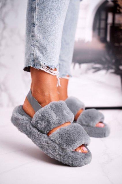 Dámske šľapky farba sivá kód obuvi W-13 GREY