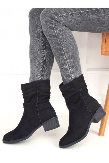 Dámske členkové topánky čierne na širokom podpätku 3345