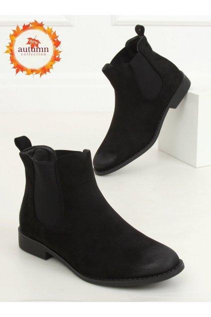 Dámske členkové topánky čierne na plochom podpätku 8310