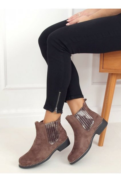 Dámske členkové topánky hnedé na plochom podpätku HQ231