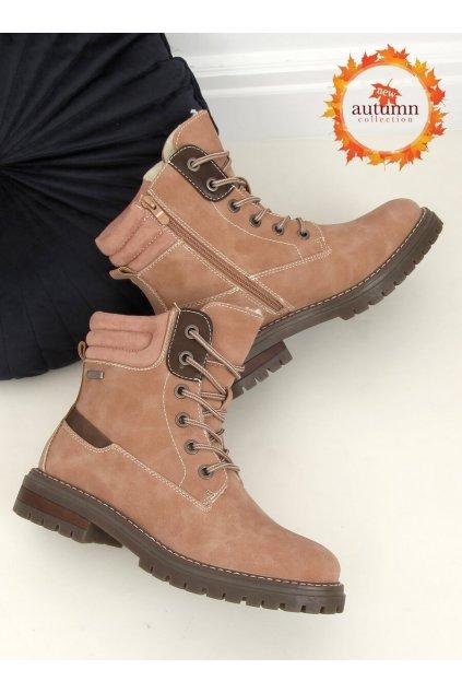 Dámske členkové topánky ružové na plochom podpätku 2218