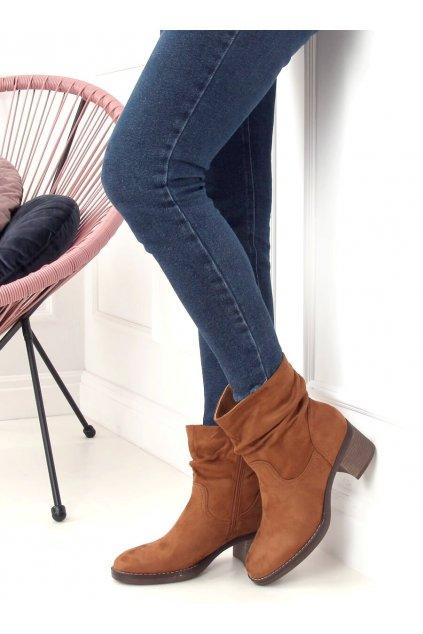 Dámske členkové topánky hnedé na širokom podpätku 6341