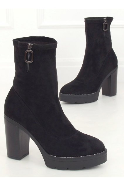 Dámske členkové topánky čierne na stĺpovom podpätku 9513