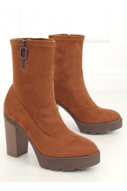 Dámske členkové topánky hnedé na stĺpovom podpätku 9513