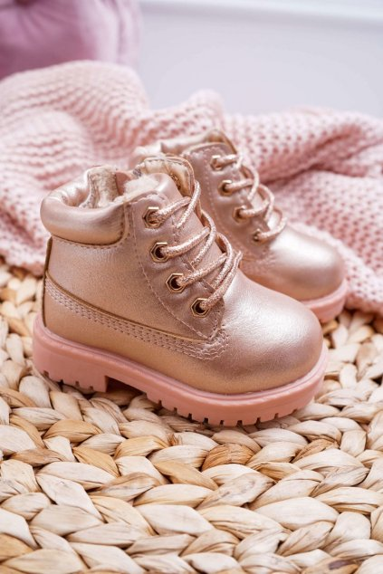 Detské členkové topánky farba ružová NJSK 20306-1H/2H CHAMPAGNE