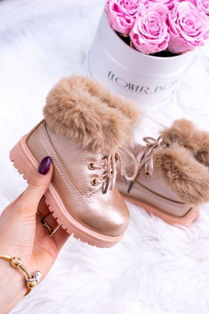 Detské členkové topánky farba ružová NJSK 20314-H CHAMPAGNE