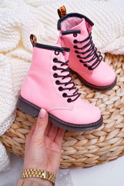 Detské členkové topánky farba ružová NJSK 20327-1C/2C PINK