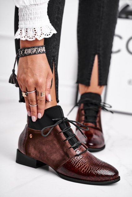Členkové topánky na podpätku farba hnedá NJSK 04744-02/00-7 BROWN