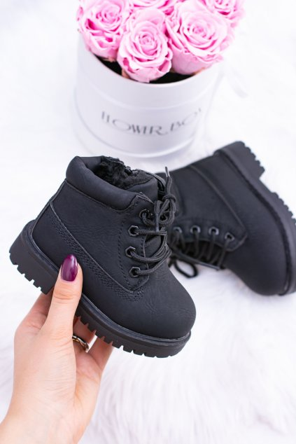 Detské členkové topánky farba čierna NJSK 20306-A BLK