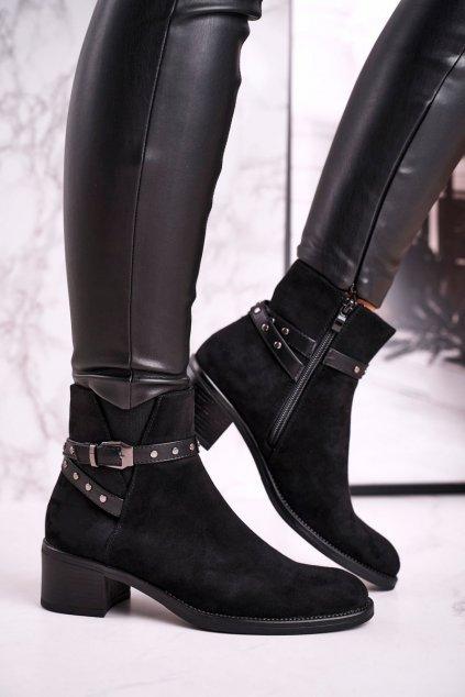 Členkové topánky na podpätku farba čierna kód obuvi BT615 BLACK