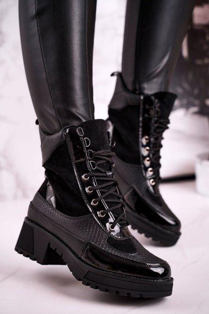 Členkové topánky na podpätku farba čierna kód obuvi FR375 BLK