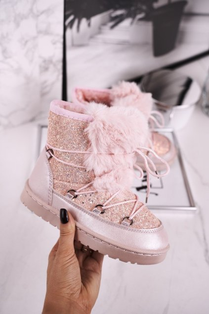 Detské snehule farba ružová kód obuvi M30 LIGHT PINK