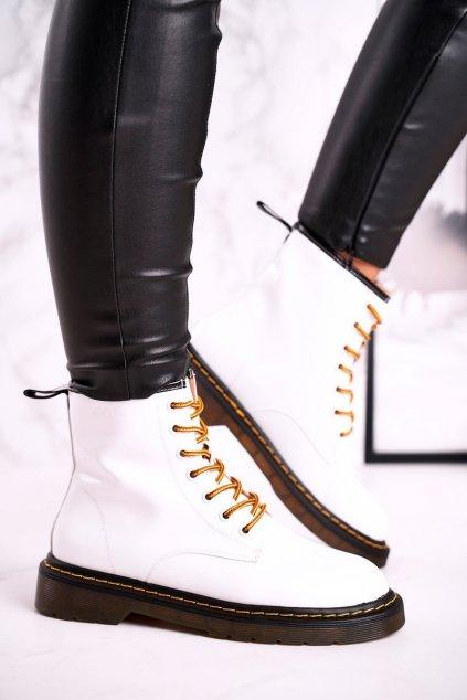 Členkové topánky na podpätku farba biela kód obuvi GG2N3057A WHITE