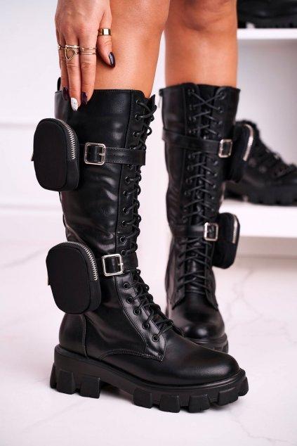 Dámske čižmy farba čierna kód obuvi 128-2 BLK