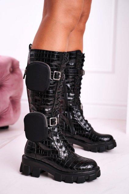 Dámske čižmy farba čierna kód obuvi 128-A2 BLK PRINT