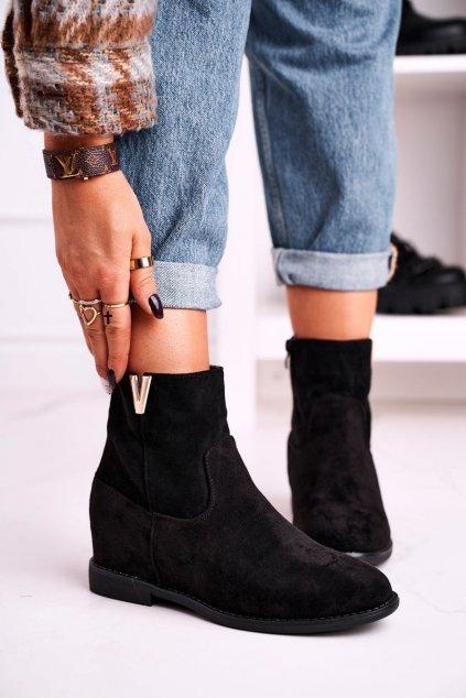 Členkové topánky na podpätku farba čierna kód obuvi ZT1013 BLK
