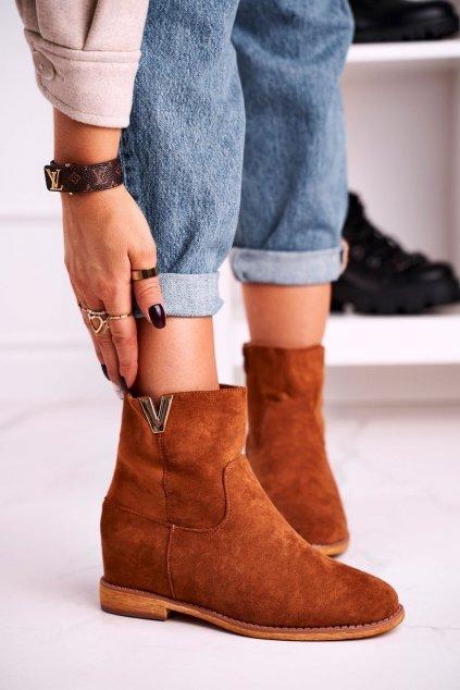 Členkové topánky na podpätku farba hnedá kód obuvi ZT1013 CAMEL