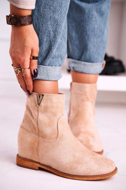 Členkové topánky na podpätku farba hnedá kód obuvi ZT1013 GREY