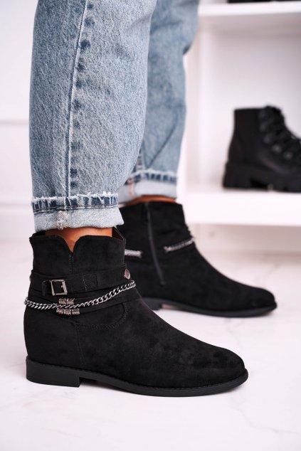 Členkové topánky na podpätku farba čierna kód obuvi 688-A97 BLK