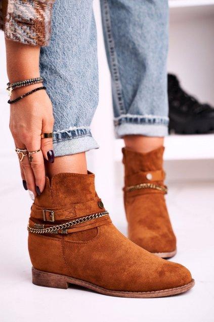 Členkové topánky na podpätku farba hnedá kód obuvi 688-A97 CAMEL