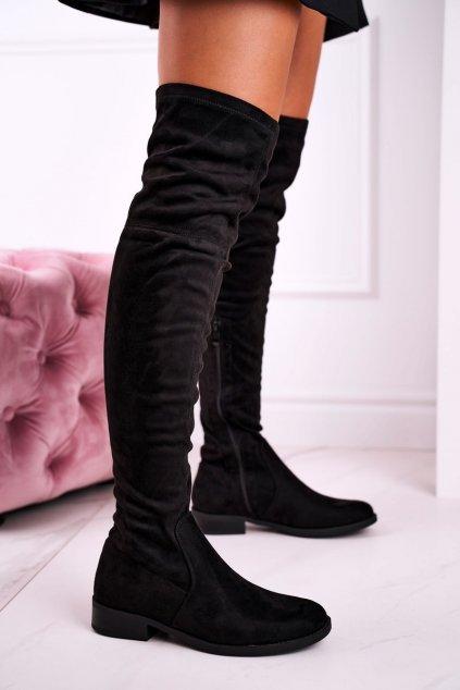 Dámske čižmy farba čierna kód obuvi LH55-1 BLACK