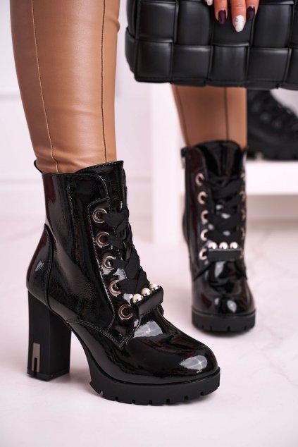 Členkové topánky na podpätku farba čierna kód obuvi 7879 BLK MIRROR