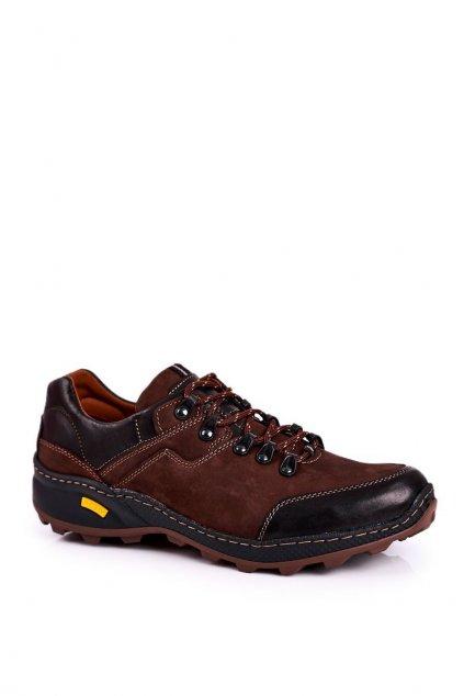 Pánske trekingové topánky farba hnedá kód obuvi 515 BRĄZ