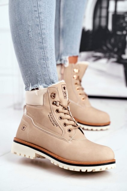 Členkové topánky na podpätku farba hnedá NJSK 20BT26-3040 BEIGE