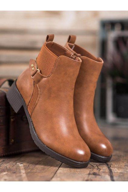 Hnedé dámske topánky Shelovet NJSK 1089C