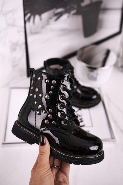 Detské členkové topánky farba čierna NJSK H10NW BLACK