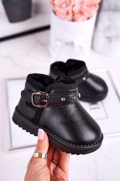 Detské členkové topánky farba čierna NJSK PD163 / PD164 BLK
