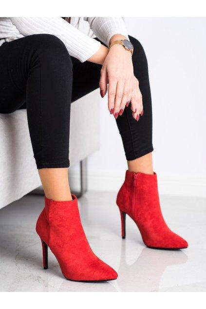Červené dámske topánky Small swan kod OM5407R