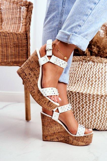 Dámske sandále na platforme farba biela NJSK 20173-19 WHITE