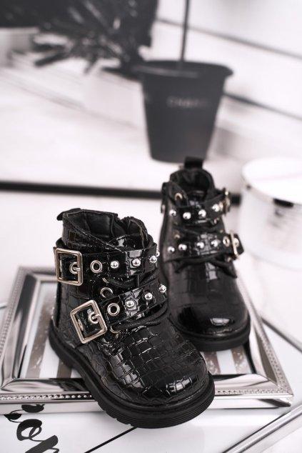 Detské členkové topánky farba čierna NJSK 7334-B BLK