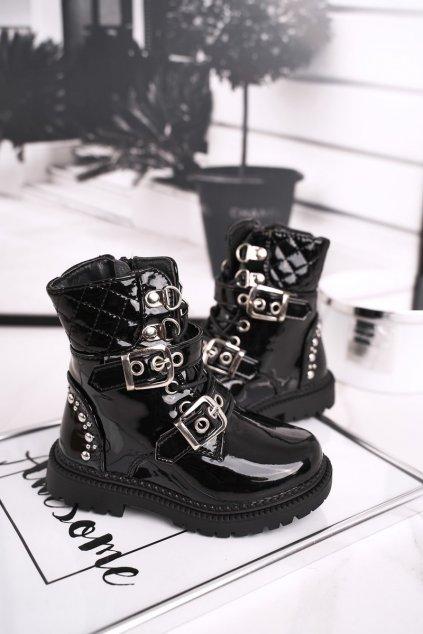 Detské členkové topánky farba čierna NJSK 7340-B BLK