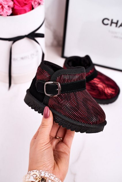 Detské snehule farba čierna kód obuvi PD162 RED