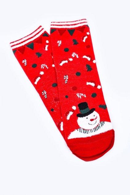 Dámske ponožky farba červená kód DM500 CZAPKI MIKOŁAJA