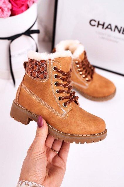 Detské členkové topánky farba hnedá kód obuvi HD159/160 BEIGE