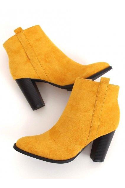 Dámske členkové topánky žlté na stĺpovom podpätku UK09P