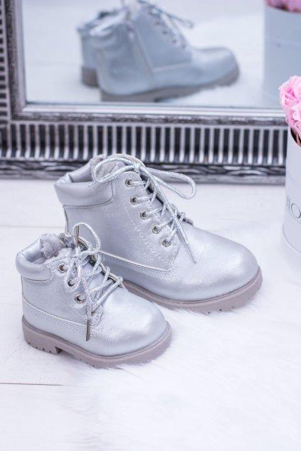 Detské členkové topánky farba sivá NJSK 20306-G SILVER