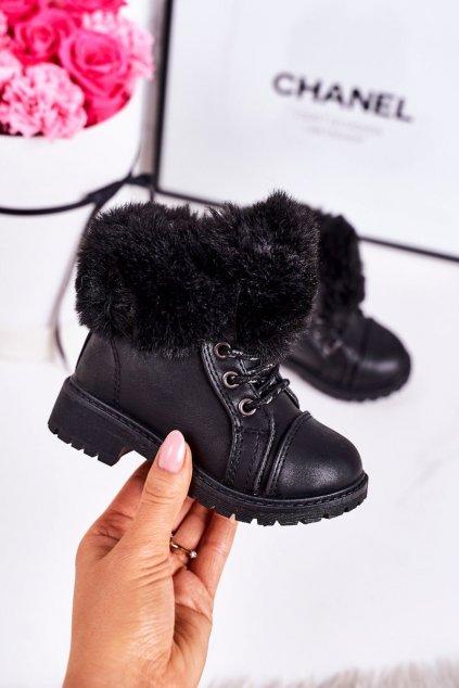 Detské členkové topánky farba čierna kód obuvi TL40K-1 BLACK